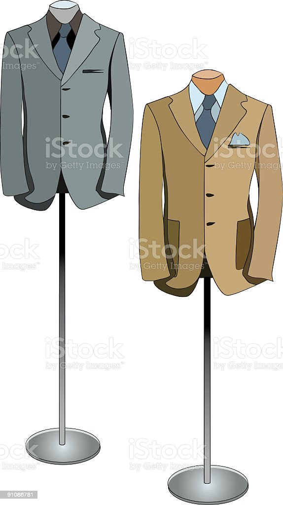 Men's Suit Displays vector art illustration