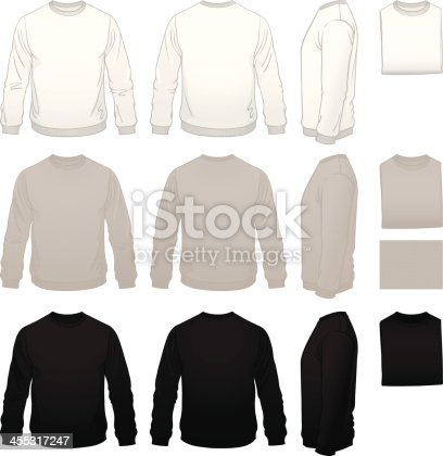 Expanding the garment collection to include men's sweatshirt templates.  Front, back and side views with folded versions in white, gray and black.  (Use the folded version to show different color options of your design in a small amount of space.)  These shirts have some life to them, with a realistically filled out, on the body look.  The illustrations are very clean, with thick-to-thin linework.  Everything is well organized.