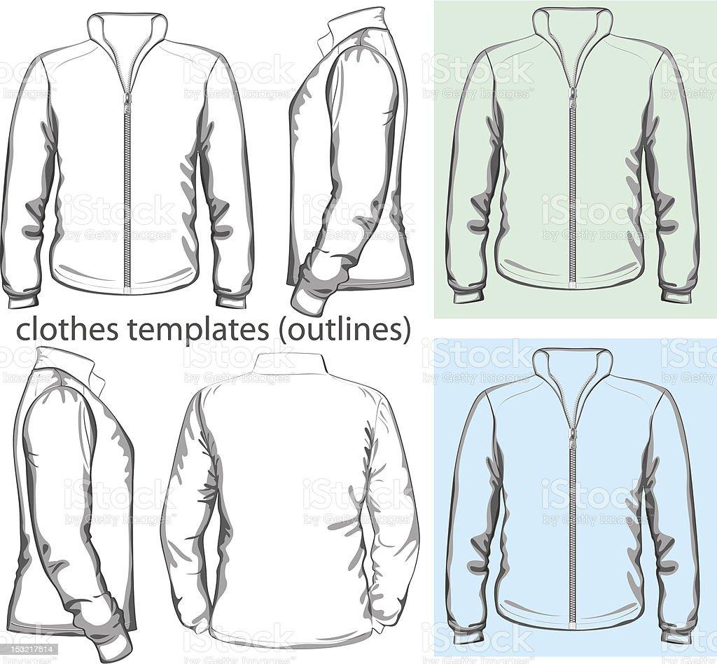 Men's sweatshirt with zipper vector art illustration