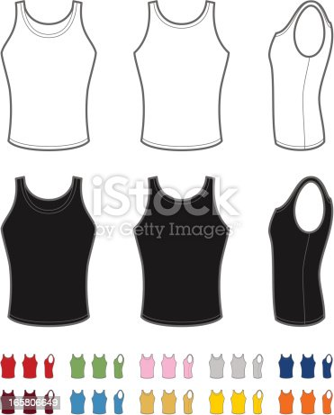 Vector illustration of classic men's tank top. Front, rear and side views. Easy color change.