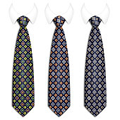 A set of ties for men's suits. With an elegant handmade pattern. Realistic illustration. Isolated  on a white background. Vector illustration .