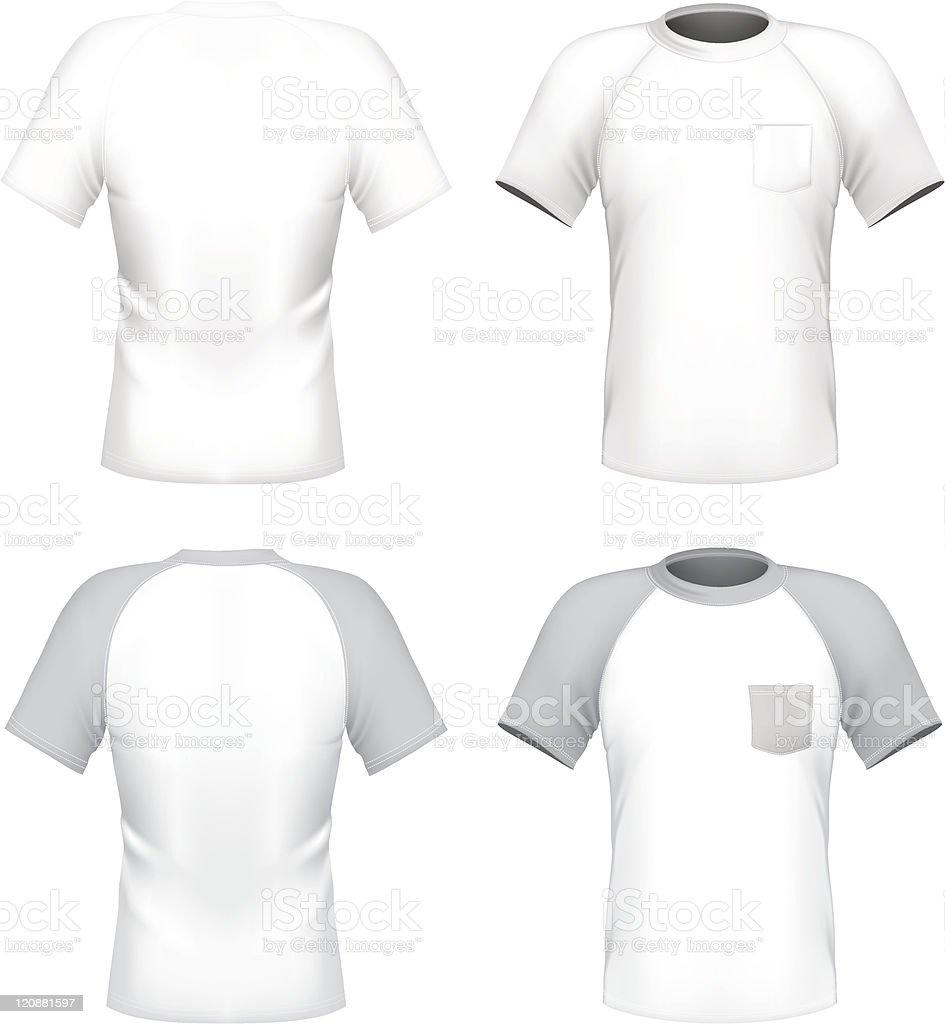 Men's t-shirt design template with pocket vector art illustration