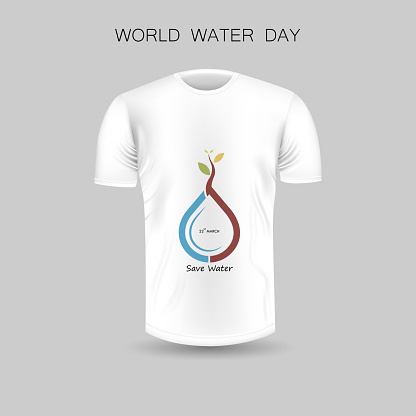 Men's T-shirt icon and World Water Day icon.White Round neck Jersey mock up template design with World Water Day concept.March,22.Front view.Vector Illustration