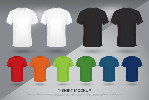 ilustrações de stock, clip art, desenhos animados e ícones de men's t-shirt mockup, set of black, white and colored t-shirts templates design. front and back view shirt mock up. vector illustration - teeshirt template