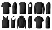 Mens t-shirt, pullover and hoodie realistic mockup