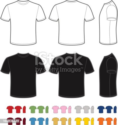 Vector template of classic men's t-shirt. Front, rear and side views. Easy color change.