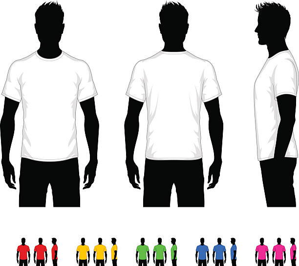 Men's T-Shirt Vector template of classic men's t-shirt. Front, rear and side views. Easy color change. back stock illustrations