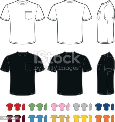 A vector template of a classic men's t-shirt with a pocket. Front, rear and side views. Easy color change.