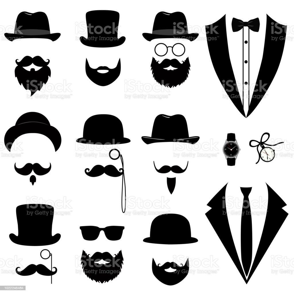 Ilustración de Esmoquin Los Hombres De Bigote Gafas Barba Pipa Y ... fe5ffaa1c90