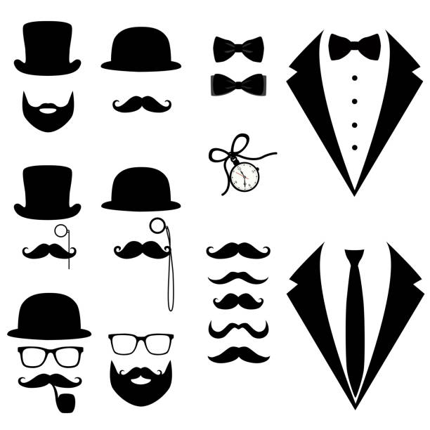 Men's tuxedo. Mustache, glasses, beard, pipe and top hat. Men's tuxedo. Mustache, glasses, beard, pipe and top hat. Weddind suits with bow tie and with necktie. Vector illustration tuxedo stock illustrations