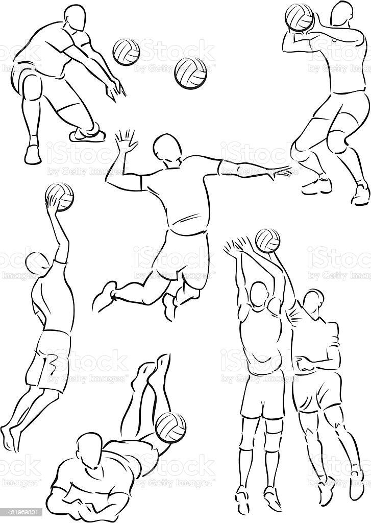 Men's volleyball 1 vector art illustration