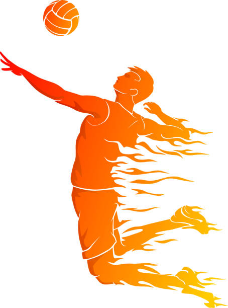 Men's Volleyball, Abstract Hot Flame vector art illustration