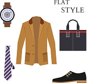 Mens Wear Look Fashion. Flat Style. Vector illustration