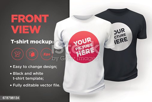 istock Men's white and black t-shirt with short sleeve mockup. Front view 678798134