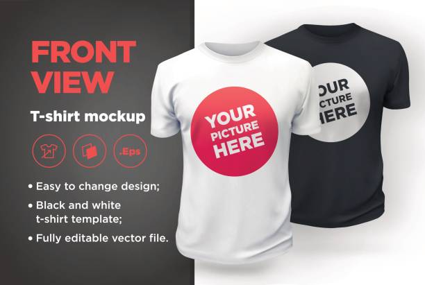 ilustrações de stock, clip art, desenhos animados e ícones de men's white and black t-shirt with short sleeve mockup. front view - teeshirt template