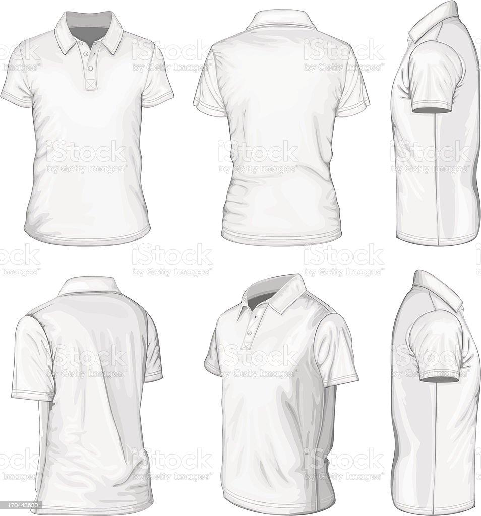 Men's white short sleeve polo-shirt vector art illustration