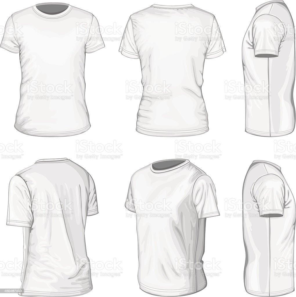 mens white short sleeve tshirt design templates stock