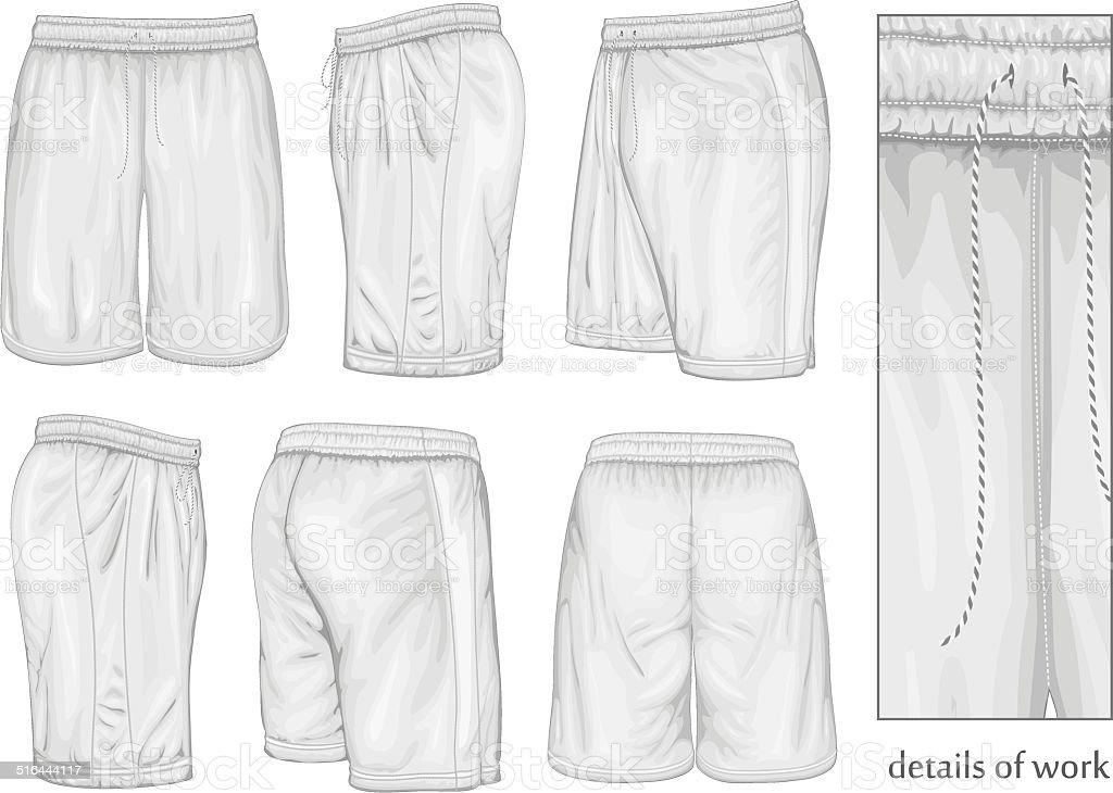 Men's white sport shorts. vector art illustration