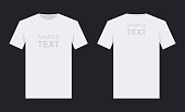 Men's white t-shirt design template, from two sides. Front and back sides