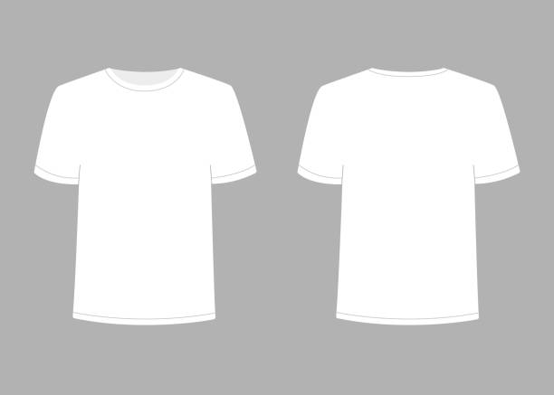Mens white t-shirt with short sleeve. Shirt mockup in front and back view. Vector template illustration Mens white t-shirt with short sleeve. Shirt mockup in front and back view. Vector template illustration on gray background. white t shirt stock illustrations