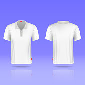 Mens white vector t-shirt realistic template. Illustration sport clothing for man