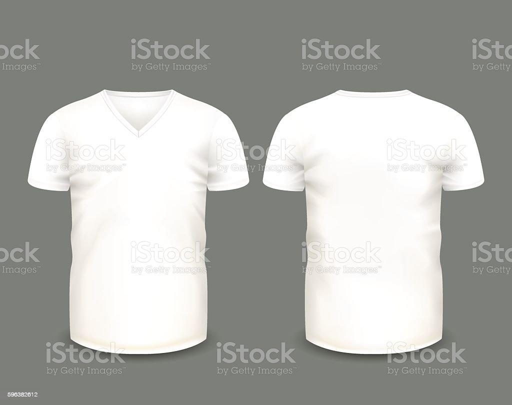 Mens White V Neck T Shirt Vector Template Lizenzfreies Vneck