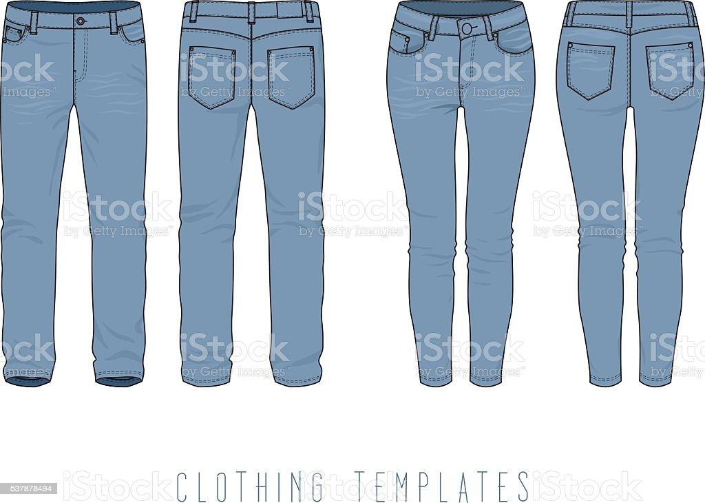 Men's, women's jeans. vector art illustration