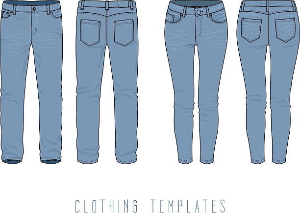 Men's, women's jeans. Collection of blue denim pants. Men's, women's jeans. Blank vector template of jeans for create a fashion art and design. Women's and men's clothing set. Vector contour illustration. Fashion jeans. skinny jeans stock illustrations