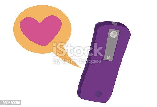 Ilustração de smartphone recebendo mensagem de amor.