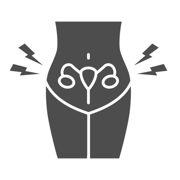 Menstrual cramps pain solid icon, Healthcare concept, ovarian inflammation sign on white background, Diseases of female reproductive system icon in glyph style for mobile. Vector graphics. Menstrual cramps pain solid icon, Healthcare concept, ovarian inflammation sign on white background, Diseases of female reproductive system icon in glyph style for mobile. Vector graphics menses stock illustrations