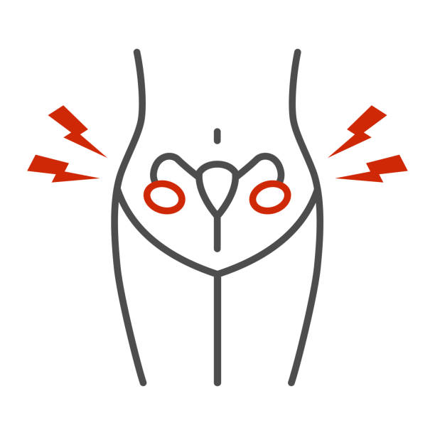 Menstrual cramps pain thin line icon, Healthcare concept, ovarian inflammation sign on white background, Diseases of female reproductive system icon in outline style for mobile. Vector graphics. Menstrual cramps pain thin line icon, Healthcare concept, ovarian inflammation sign on white background, Diseases of female reproductive system icon in outline style for mobile. Vector graphics menses stock illustrations