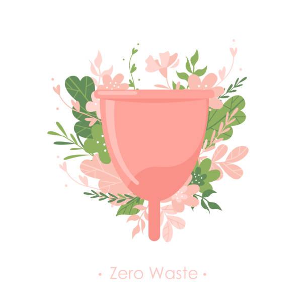 illustrazioni stock, clip art, cartoni animati e icone di tendenza di menstrual cup with plants and flowers on white background - coppa mestruale