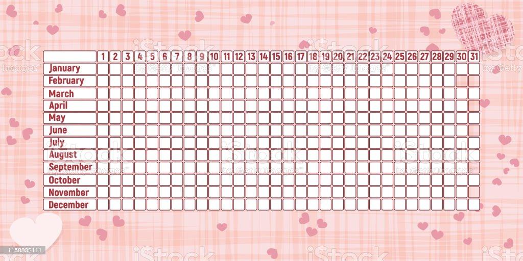 Calendario De Periodo Menstrual.Ilustracion De Calendario Del Periodo Menstrual Y Mas