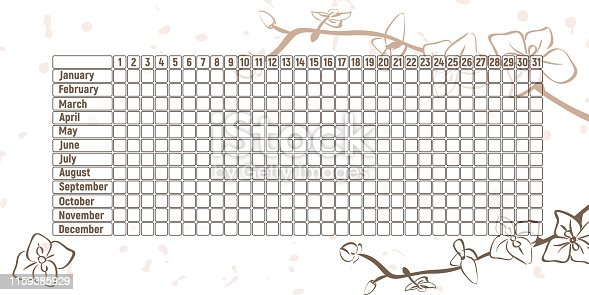 Menstrual period calendar. Monthly woman menstruation control. Vector illustration. Empty table with orchids.