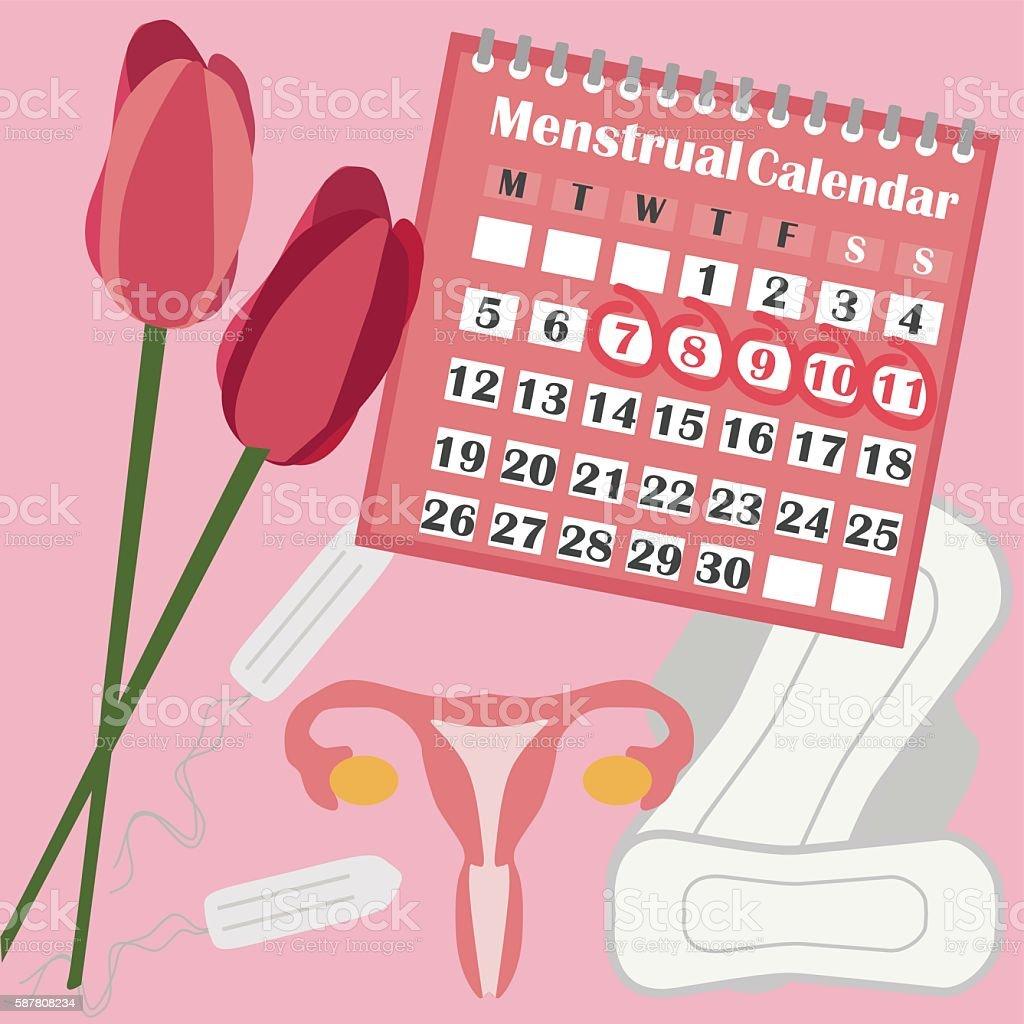 menstruation calendar with cotton tampons feminine hygiene. Black Bedroom Furniture Sets. Home Design Ideas