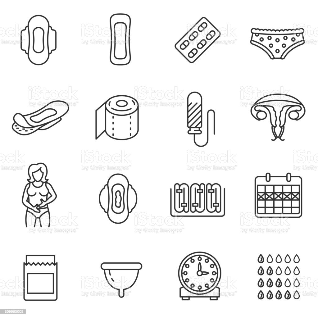 Menstruation icons set. Editable stroke vector art illustration