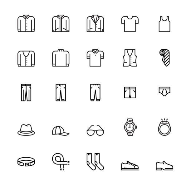 stockillustraties, clipart, cartoons en iconen met herenkleding en accessoires pictogrammen - men blazer