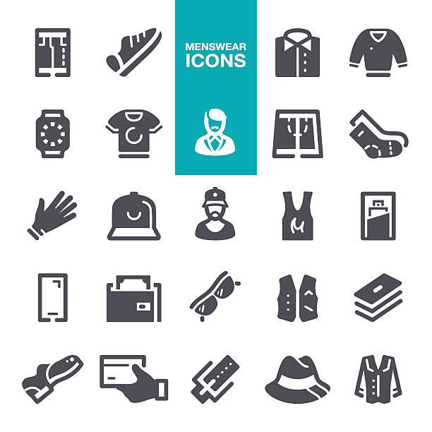 menswear icons - mens fashion stock illustrations, clip art, cartoons, & icons