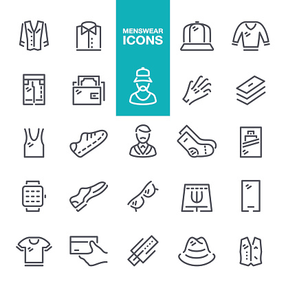 Menswear line icons