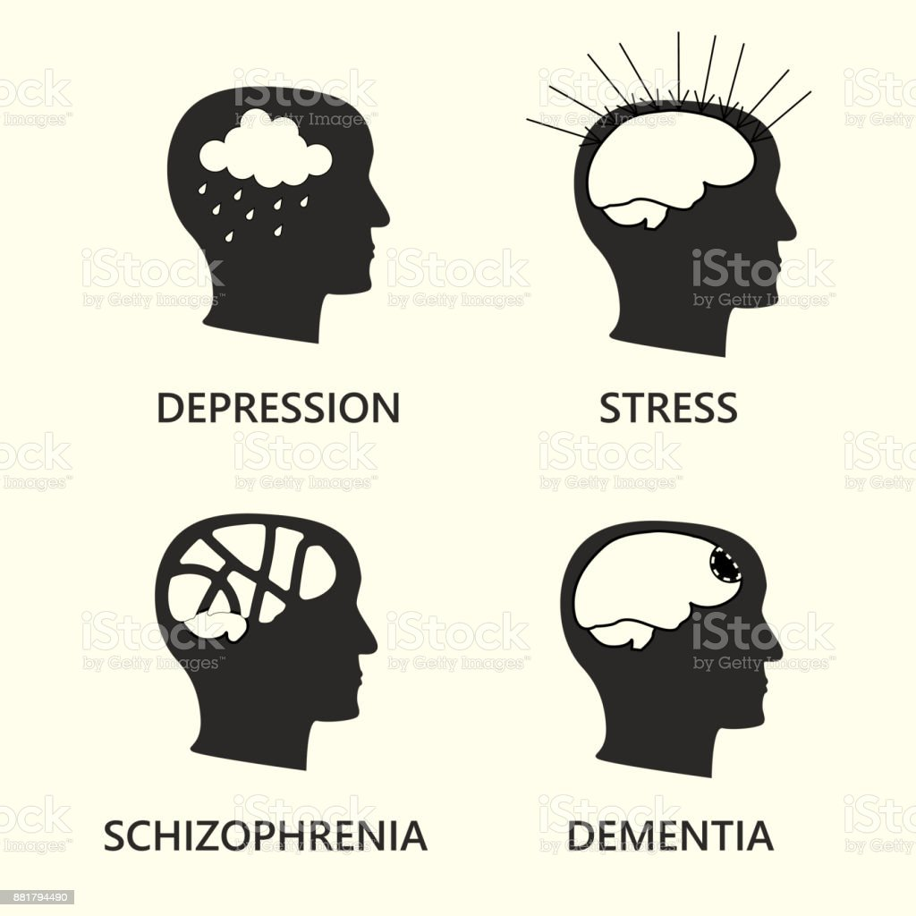 mental disease icon set vector art illustration