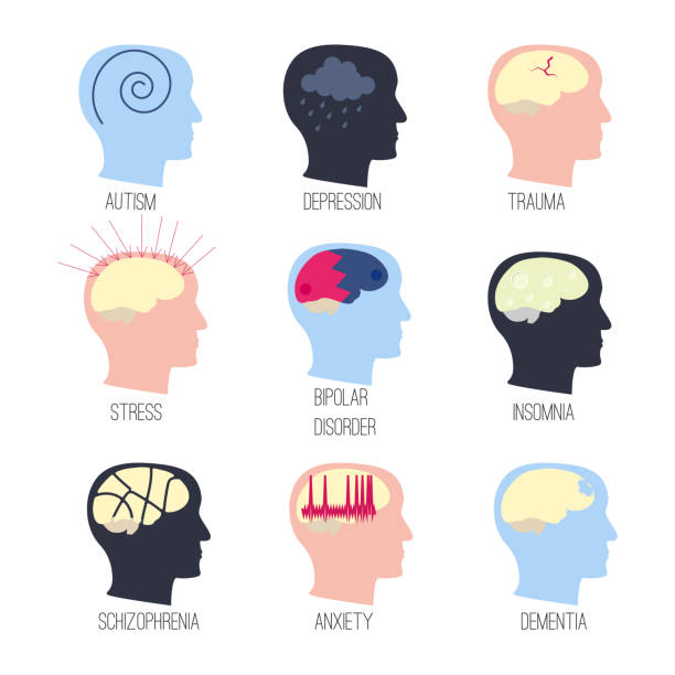mental disease icon set Mental illness icon set. Stock vector illustration of a human profile with different brain diseases. shock stock illustrations