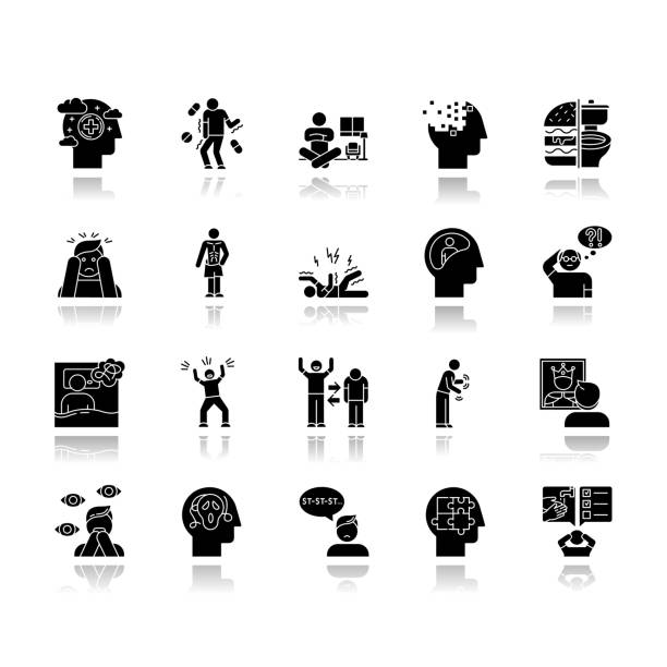 Mental disorder drop shadow black glyph icons set. Delusions, schizophrenia. Amnesia. Bipolar disorder. Bulimia, anorexia. Autism spectrum. Obsessive-compulsive syndrome. Isolated vector illustrations Mental disorder drop shadow black glyph icons set. Delusions, schizophrenia. Amnesia. Bipolar disorder. Bulimia, anorexia. Autism spectrum. Obsessive-compulsive syndrome. Isolated vector illustrations neurodegenerative disease stock illustrations