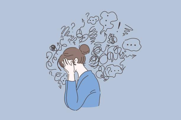 精神障害、答えを見つける、混乱の概念 - 女性 落ち込む点のイラスト素材/クリップアート素材/マンガ素材/アイコン素材