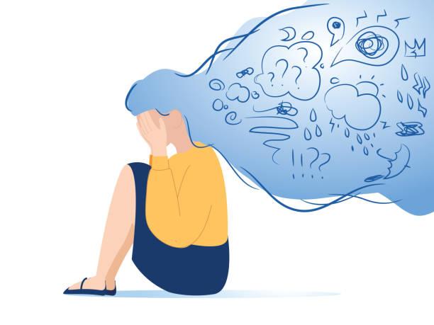 psychische störung, antworten finden, verwirrungskonzept. frau leidet an depressionen, schließen gesicht mit palmen in verzweiflung - besorgt stock-grafiken, -clipart, -cartoons und -symbole