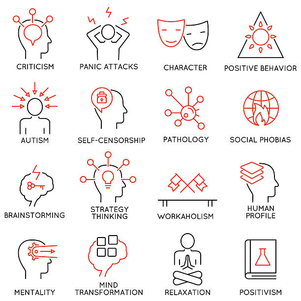 Mental features of human brain process, mental disorders- part 2 Vector set of 16 modern thin line icons related to mental features of human brain process, mental disorders. Simple Mono line pictograms and infographics design elements and symbols - part 2 inconvenience stock illustrations