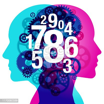 """A Male and Female side silhouette profile overlaid with various semi-transparent Machine Gears shapes. Centre placed is a set of white """"numbers"""" - ranging from 0 to 9."""