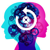 """A Male and Female side silhouette profile overlaid with various semi-transparent Machine Gears shapes. Centre placed are white """"rewind and 2 gear"""" symbols."""