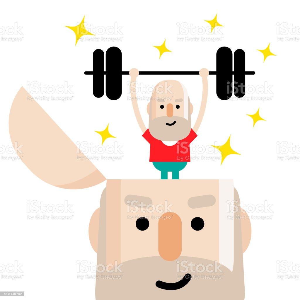 Saúde mental, estilo de vida ativo e saudável sênior homem levantando um peso de cima e para baixo, em pé em uma cabeça aberta - ilustração de arte em vetor