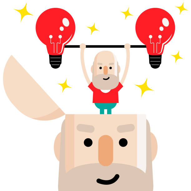 mental health, active and healthy lifestyle senior man lifting up two idea light bulb, from an opened head - old man lifting weights stock illustrations