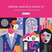 Vibrant eyecatching vector cover template with a touch of 80's style depicting mental health and coronavirus.